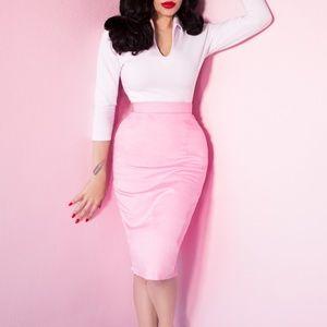 Micheline Pitt Vixen Pink Pencil Skirt